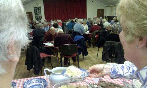 Serving puds, Drimpton Village Hall