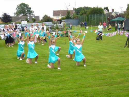The majorettes entertained