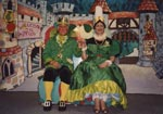 Page 33. King Pippin and Queen Peardrop, costumes and set made by villagers.